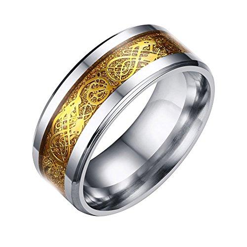 Schmuck Herren-Ring Damen-Ring Wolframcarbid Ring Verlobungsringe mit Silber / Gold Keltischen Drachen Hochzeit Band - Größe 11 - Damen-verlobungsringe, 11 Größe