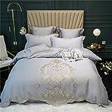 Bettwäsche-Set (Doppelte) Bettbezug Set Mit Muster Weich Bestickt European Luxury 100% Baumwolle Home 4-Teiliges Set 1 Bettbezug Mit Reißverschluss 2 Kissenbezug 1 Bettlaken,220 * 240cm