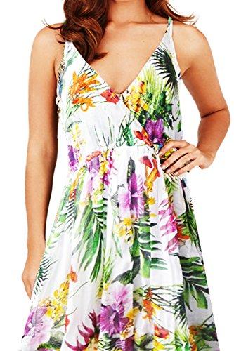 Pistachio, Damen Blumen Maxi-kleid Aus Baumwolle pink - tropisch