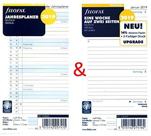 Pagina Calendario Settimanale.Filofax Refill Per Agenda Con Calendario Settimanale Set Personal Una Settimana E Organizzata Su Due Pagine Verticali Con Righe E Planner Annuale