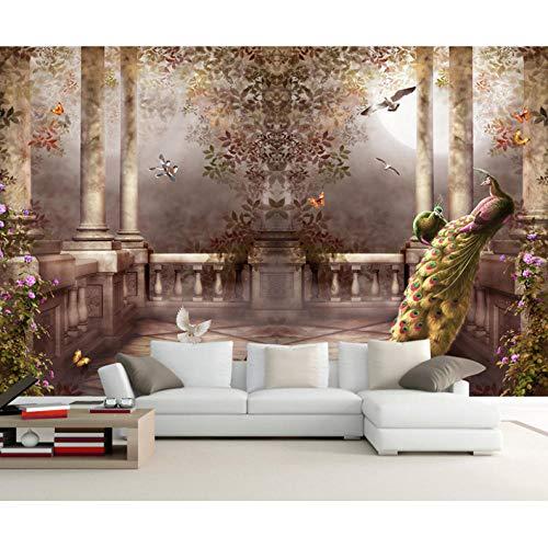 3d wallpaper für wände pfau fototapete rokoko tapete schlafzimmer raumdekor tv hintergrund...