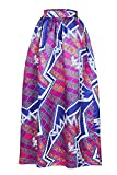Best Linen Store Bed Skirts - Bling-Bling Floral African Print Navy Maxi Skirt(Purple,M) Review