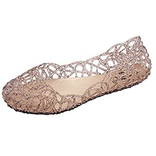 ANDAY Women's Soft Hollow Jelly Beach Summer Flats Sandals Size 6 UK