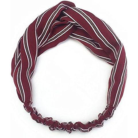 SUYU Violaceo rosso strisce Retro, colore blocco stampa cotone e lino crossover fascia dei capelli, capelli banda bordata