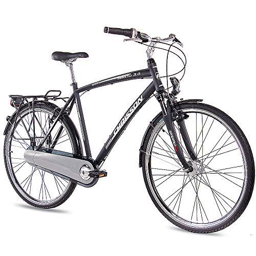 CHRISSON 28 Zoll Herren City Bike - Sereto 3.0 schwarz - Herrenfahrrad mit 7 Gang Shimano Nexus Nabenschaltung, Rücktrittbremse und Nabendynamo, Cityrad mit Suntour Federgabel
