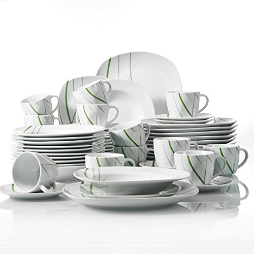 VEWEET, Tafelservice \'Aviva\' aus Porzellan 60 teilig | Kombiservice beinhaltet Kaffeetassen 175 ml, Untertasse, Dessertteller, Speiseteller und Suppenteller| Komplettservice für 12 Personen