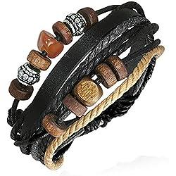ZENSE - Bracelet Homme Cuir Ajustable Moderne ZB0106-A Bois et Acier, Noir Gris Marron et Beige, Symbole de Karma