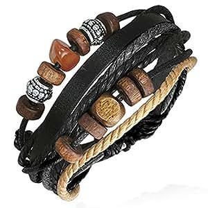 Zense - Bracelet homme cuir ajustable moderne Zense ZB0106 bois et acier, noir gris marron et beige, symbole de Karma