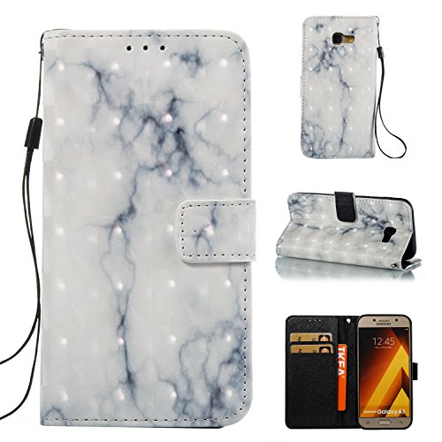 Cozy Hut Samsung Galaxy A5 2017 Hülle Marmor, PU Leder Buntes Marmor Muster Flip Wallet Case mit Standfunktion Karten Slot und Magnetverschluß Hülle für Samsung Galaxy A5 2017 - beige Marmor