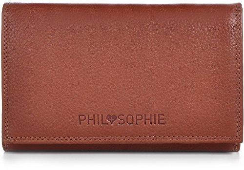 PHIL+SOPHIE, Cntmp, Damen Geldbörse, Damen Portemonnaie, Damen Börse, Brieftasche, Querformat, Echt Leder, 15,5x9,5x3,5cm (BxHxT), Farbe:Hellbraun (Cognac)