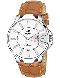 Espoir Analog White Dial Men's Watch-ES133