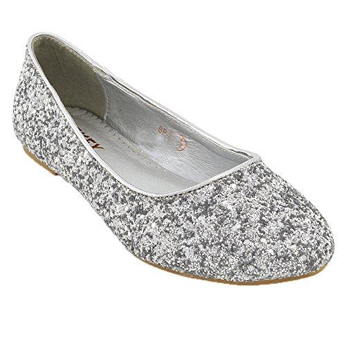 ESSEX GLAM Damen Glitzer Ballerinas Flach Klassische Brautschuhe Pumps Party Schuhe (EU 40, NEW PINK MULTI GLITTER)