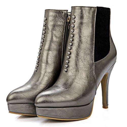 TAOFFEN Damen Knöchelriemchen Reißverschluss Spitze Toe Plateau Stiefel Stilett Mode Elegant Schuhe (37 EU, Rot)