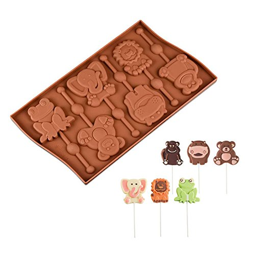 6Mulden Tierdesign Lollipop Form Frosch Affe Silikon Schokolade Formen Kuchen dekorieren Tools (Schokoladenformen Lollipop)