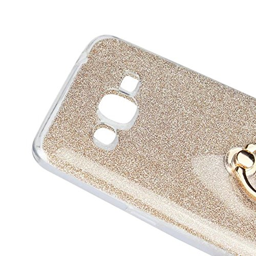 Luxus Bling Sparkle Style Case, Soft TPU [Silikon] Flexible Glitter Rückseitige Abdeckung mit Fingerring Stand für Samsung Galaxy J2 Prime ( Color : Pink ) Gold