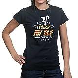 WomensTouchMyElfFunnyChristmasXmasNewGiftLadiesT Shirt(Tee,Top)BLK XS Black