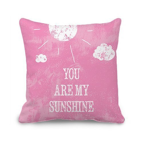 Shengpeng ilkin Pink Wording Soft Flannel Decorative Quotes Throw Pillow Cover Cushion Case (You Are My Sunshine#sy15)