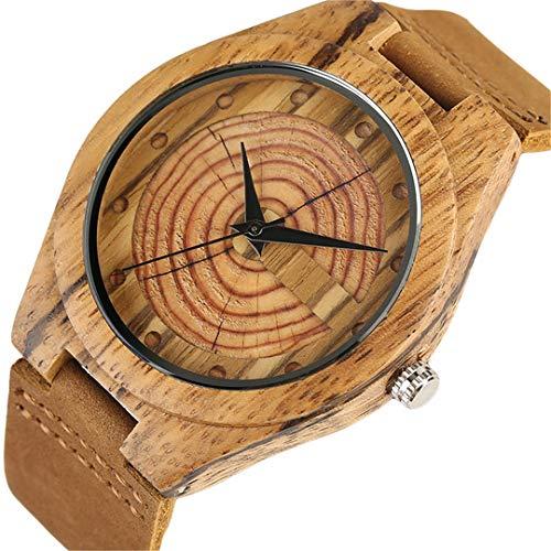 Herren Holz Uhr Handgemachte JäHrliche Ringe Block Punkte Schwarze HäNde MäNner Quarz Armbanduhren Braun Echtes Leder Starp Sport Hour (Holz-block-bild-halter)