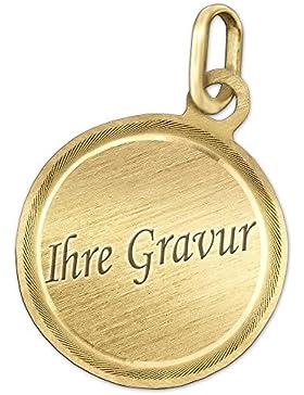 CLEVER SCHMUCK-GRAVUR Goldene Gravurplatte Ø ca. 15 mm runde Form, matt mit vertieftem Rand fein diamantiert 333...
