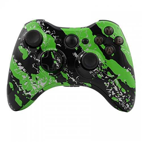 XBOX 360 Shell & Button Kit For Wireless Controller Green Splatter