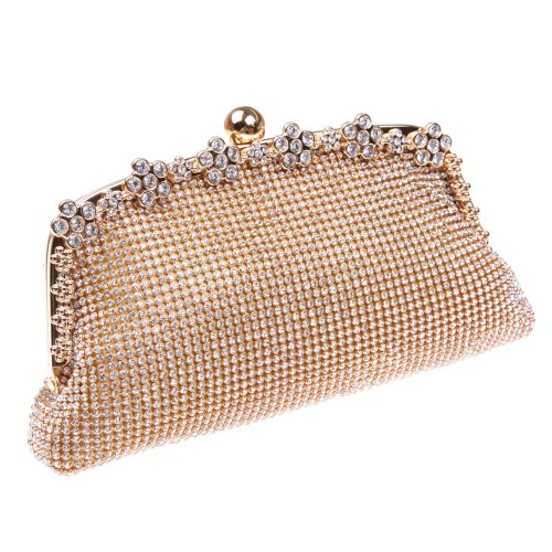 Bonjanvye Bling Clutches for Ladies with Giltter Rhinestone Flower Clutch Evening Bag Gold