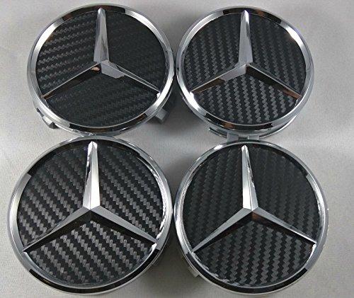 Lot de 4 capuchons centraux de roue en relief 75mm Noir carbone