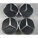4 tapas para llantas de aleación de Mercedes, color negro, tamaño de 75 mm