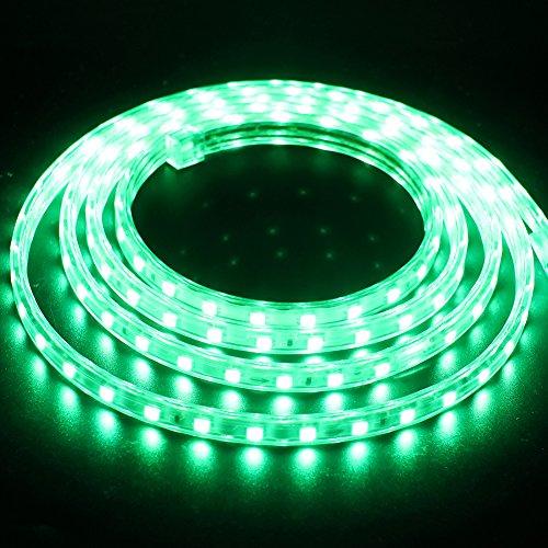 XUNATA 10m Tiras LED Verde, 220V SMD 5050 60LEDs/m, IP67 Impermeable, Escalera de Techo Tira de LED Cocina Cable Luces Flexible LED Strip Light Decoración