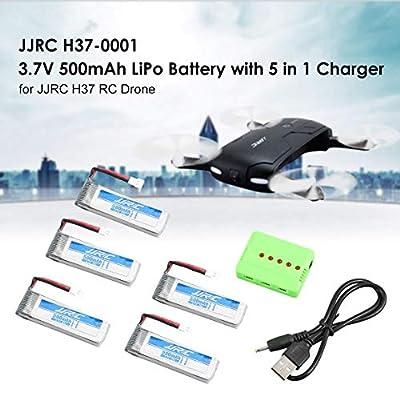 Funnyrunstore Original 5Pcs JJR/C H37 3.7V 500mAh 20C LiPo Battery and 5 in1 Charger for H37 D5 GoolRC T37 Eachine E50 Drone RC Quadcopter