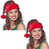 Carpeta 2 Weihnachtsmann Mützen im Set als Verkleidung zu Weihnachten // Weihnachtsmütze Kopfbedeckung Zipfelmütze Hut Nikolaus