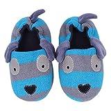 Ksnrang Jungen Winter Kleinkind Doggy Hausschuhe Cartoon Puppy häkeln Rutschfeste warme Indoor Home Schuhe (26/27 EU, Blau Hund)