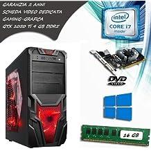 PC FISSO COMPUTER DESKTOP INTEL CORE i7 - SCHEDA VIDEO GTX 1050 TI 4 GB GDDR5 - RAM 16 GB - SSD 120 HDD 1TB - LICENZA ORIGINALE MICROSOFT WINDOWS 10 PRO - PERFETTO PER FORTNITE E GRAFICA