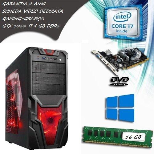 PC FISSO COMPUTER DESKTOP INTEL CORE i7 SCHEDA VIDEO GTX 1050 TI 4 GB GDDR5 RAM 16 GB SSD 120 HDD 1TB LICENZA ORIGINALE MICROSOFT WINDOWS 10 PRO