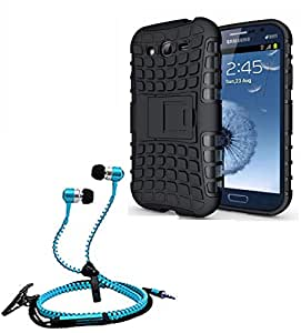 Hard Dual Tough Military Grade Defender Series Bumper back case with Flip Kick Stand for Samsung 9082 + Stylish zipper hand free for all smart phones by Carla Store