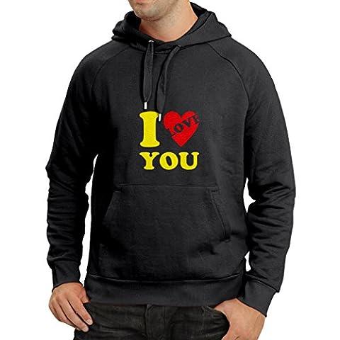 Kapuzenpullover Ich liebe dich! - Valentinstag Geschenke (XXX-Large Schwarz Gelb) (Cool 2 Person Kostüme)