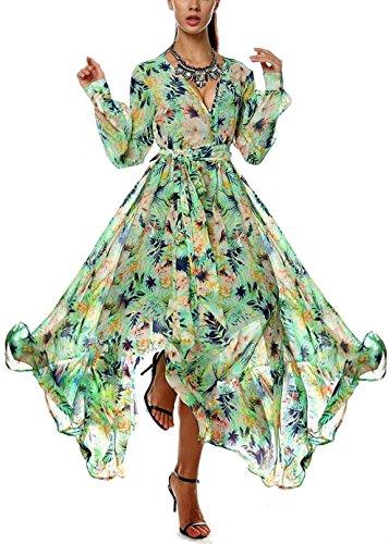Qissy® Femme Floral Imprimé Robe Mousseline Col V Bohème Manche Longue, Robe de Soirée, Robe de Party Chiffon Bohème Plage Mer A-Vert