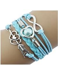 CargoMix® Armband Unendlichkeit Hellblau Silber Leder-Seil / Infinity / Pfeil /Hellblau Perle / Herz / Freundschaft Armband Charm Mode-Legierung Damen Schmuck