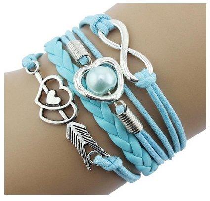 CargoMix® Armband Unendlichkeit Hellblau Silber Leder-Seil / Infinity / Pfeil /Hellblau Perle / Herz / Freundschaft Armband Charm Mode-Legierung Damen - Infinity Freundschaft Armband