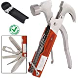 DOCOSS 14in1 Multi Functional Multitool Stainless Steel and Wooden Claw Hammer