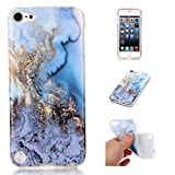 Dailylux iPod Touch 6 Case,iPod Touch 5 Case, iPod Touch 5/6th Case Marble Design Slim Soft Flexible Thin Gel TPU Bumper Scratchproof Clear Hard Cover for Apple iPod Touch 5/6th Generation-Blue