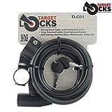Target Locks reg; TLCO1 - Cavo antifurto con lucchetto e staffa, ideale per bici, moto, cancelli