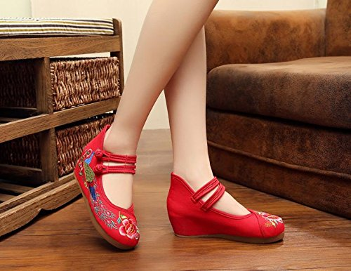 DESY scarpe ricamate, biancheria, suola del tendine, stile etnico, aumento scarpe femminili, moda, comodo, casual Red