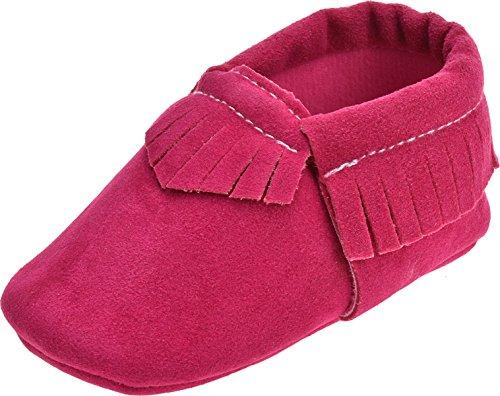 ZOEREA Chaussure Bébé Fille Enfant Souple Semelles Chaussures Premiers Pas Anti-dérapantes Rose Rouge