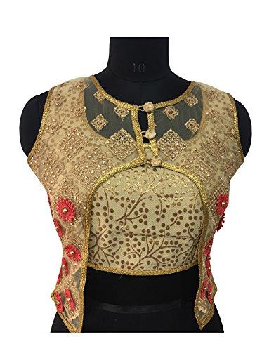 Shreeji Designer Women's Jacquard Silk Gold Color Fashion Neck Pearl and Embroidery...