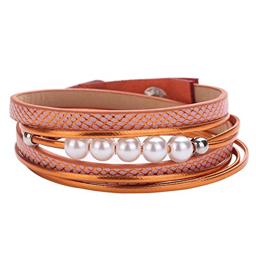 Zibuyu Unisex Multi-Layer Pu Winding Bracelet Pearls Alloy Bangle Button(Orange)