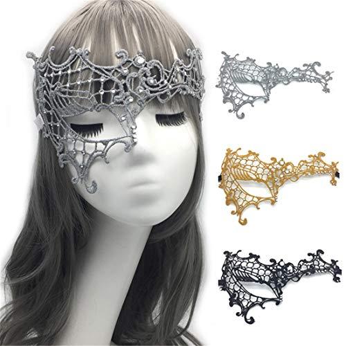 on 3 Sexy Damen Hälfte Gesicht EIN Auge Vintage Lace Masquerade Ausgefallene Kleid Masken Venezianischen Eyemask-Halloween Mardi Gras Party Maske,Satinribbon ()