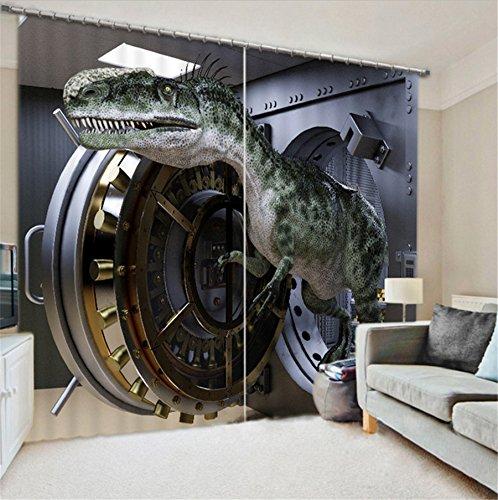 LB 2 paneles de sala de oscurecimiento cortinas opacas,impresión 3D efecto dinosaurio gris ,cortinas ventana