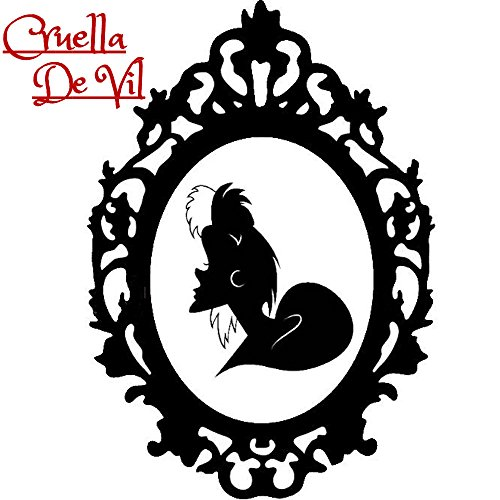 Disney Villain Schurke Portrait Halloween Gothic Sticker Aufkleber Evil Cruella De Vil Dalmation Hund Wall Window Home Vinyl Abziehbild Decal (Disney Halloween-dekor)