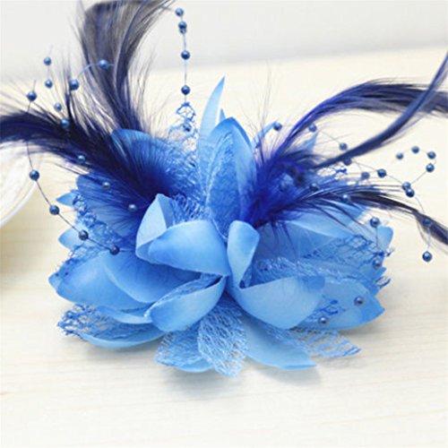 display08Hochzeit Party Corsage Faux Feder Blume Handgelenk Haar Band