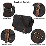 S-ZONE 15 Inches Laptop Mens Large Laptop Messenger Shoulder Bag Vintage Canvas Briefcase Crossbody Day Bag
